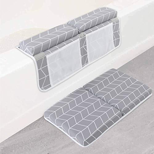 Baby Bath Pad Kneeler 1.77 inch Soft Baby Bath Kneeler Pad 4 Organizer Pockets Bathtub Pad for Newborn Girls Boys Plaid