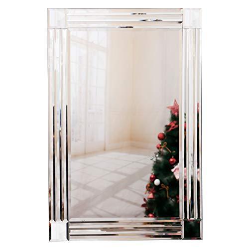 RICHTOP - Espejo de pared de diseño moderno, grande, con borde biselado veneciano de color plateado para la sala de estar, de 60 x 90 cm