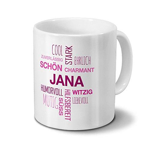 printplanet Tasse mit Namen Jana Positive Eigenschaften Tagcloud - Pink - Namenstasse, Kaffeebecher, Mug, Becher, Kaffeetasse