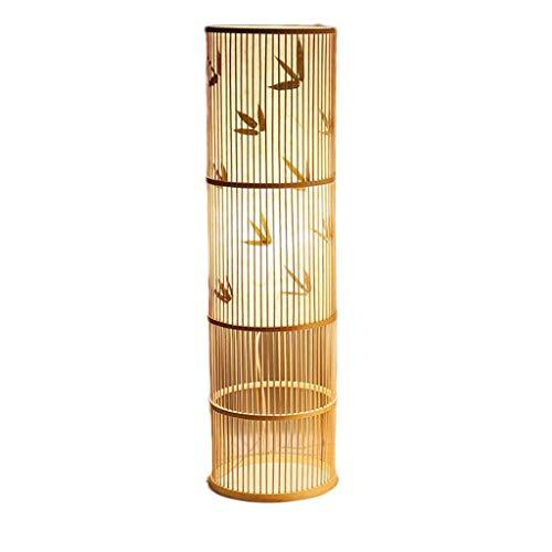 Lámpara Tejido de bambú Hecho a Mano Chino cálido Regulable lámpara de pie Sala de té lámpara de Mesa Sala de Estar Dormitorio lámpara de pie Luz de pie (Color : D)