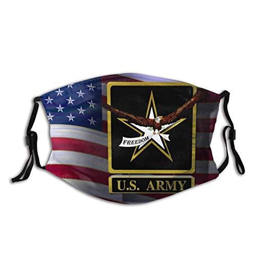 Máscara facial impresa del ejército de los Estados Unidos, decorativa, ajustable, con 2 filtros para hombres y mujeres pasamontañas Bandana paño