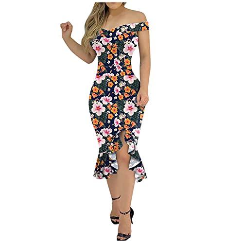 TYTUOO Vestidos de verano vintage sexy para mujer con hombros descubiertos, dobladillo suelto, con abertura y abertura para el vestido bodycon con estampado floral para mujer elegante