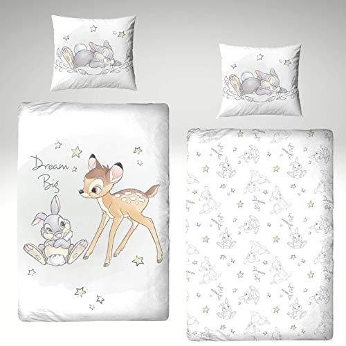 Bambi Juego de ropa de cama de franela, 135 x 200 cm y 80 x 80 cm, ropa de cama para niña, franela, Disney Rh & Klopfer, Dream Big - 1 funda de almohada de 80 x 80 cm y 1 funda nórdica de 135 x 200 cm