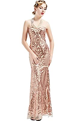 BABEYOND Women's 1920s Vintage Long Beaded Sequin Strapless Dress Roaring 20s Flapper Gatsby Dress Lace up Banquet Dress