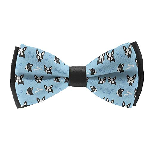Men's Fashion Classic Pre-Tied Formal Tuxedo Bowtie Adjustable Length French Bulldog Paw And Dog Bone Bow Tie for Wedding Party Business