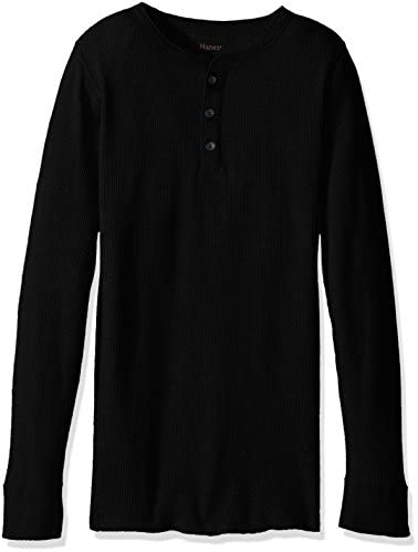 Hanes Men s Big Red Label X Temp Thermal Henley Black Small product image