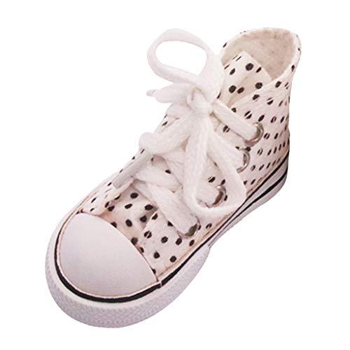lahomia 7.5cm Moda Zapatos de Lona con Cordones 1/3 BJD 60cm Zapatos Accesorios de Vestir - Blanco