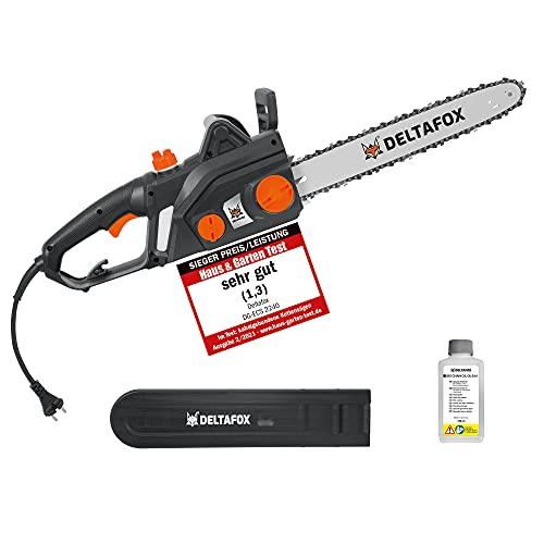 DELTAFOX Elektro Kettensäge - 2200 W - 40 cm Schnittlänge - ruckfreier Anlauf durch Softstart - Rückschlagschutz - inkl. 180 ml Bio-Kettenöl - 15,3 m/s Sägeleistung