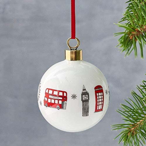 London Skyline Bauble, Red & White, Christmas Tree Ornament