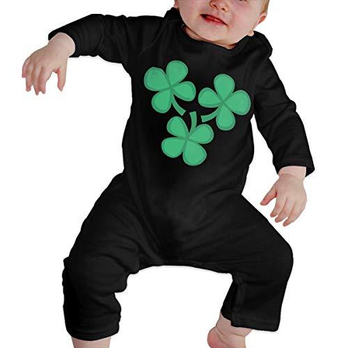 Lucky 4-Leaf Clover Newborn Girl Boy Kid Baby Romper Body de Manga Larga para bebés(12M,Negro)
