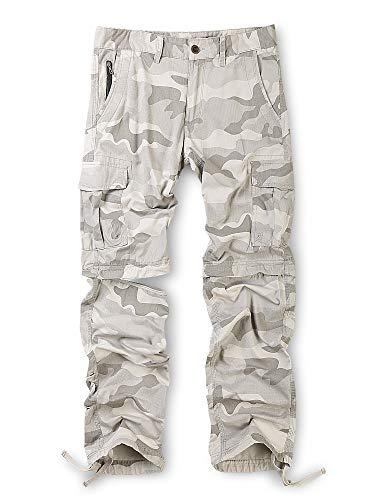 Men's Cotton Convertible Pants, Durable Straight Leg Zip Off Cargo Combat Trousers Shorts Camo Grey 36