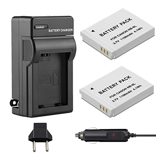 Venwo 2 Pack NB-6L/NB-6LH Battery and Charger kit Compatible with Canon PowerShot SX540 HS, SX530 HS, SX520 HS, SX510 HS, SX500 HS, SX170 is,SX700 HS, SX710 HS,SX610 HS, SX600 HS, S120, D20, D30, S90