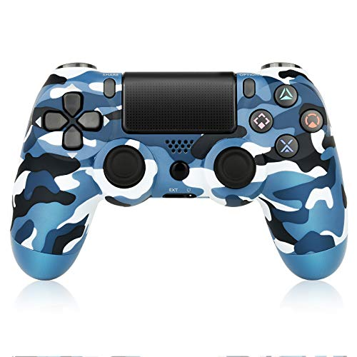Wireless Controller Compatible with PS4, Game Controller for Playstation 4 Built-in Speaker six-axis Gyro and Dual Vibration, Remote Control Gamepad for PS4/Slim/Pro Console (Camouflage Blue)