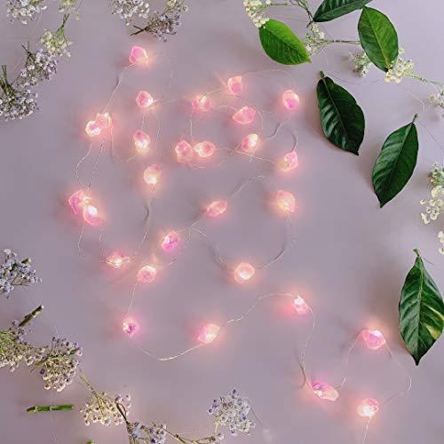 TAMOYO Amethyst String Lights, Natural Crystal LED String Lights 10FT 30LEDs for Summer Decoration, Valentine's Day, Wedding, Birthday Party, Bedroom Decoration