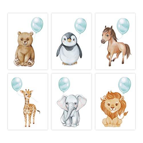 NORTH-WEST ® Kinderzimmer Poster Set 6 STK. | Deko für Mädchen und Junge | Tierposter Mint | Baby...