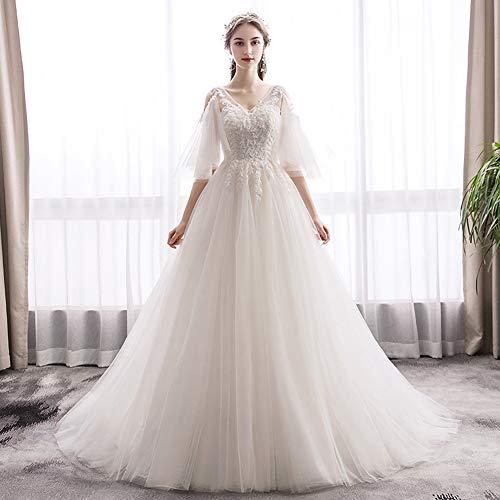 IOIOA Hochzeitskleid, Sen Light Wedding Bride Französisch Retro Hepburn Slim Einfache Hochzeitskleid - Light Champagne,L