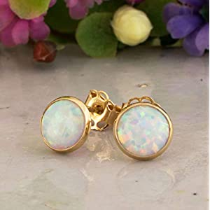 White Opal Stud Earrings - 14K Solid Yellow Gold Studs, October Birthstone