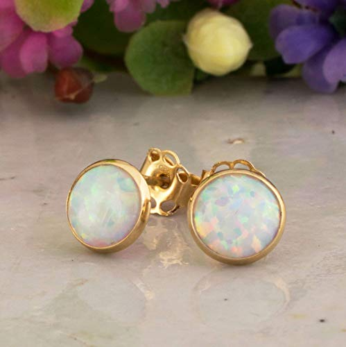 14K Gold White Opal Stud Earrings - 14K Solid Yellow Gold Studs, Gold Pushback Closures, Dainty 6mm October Birthstone Small Cute Opal Jewelry - Simple Handmade Gift for Young Women