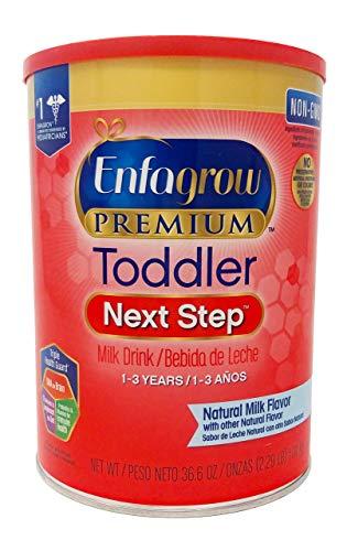 Enfagrow Premium Toddler Next Step, Natural Milk Flavor. 36.6 oz. Plus Free Bonus 1 Pack of Disposable Baby Bibs and 2 Baby Washcloths.