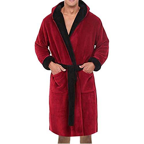 Herren Winter Bademantel Verlängerte Plüsch Schal Home Kleidung Langarm Robe Mantel Winterbademantel Nachthemd Mit Kapuze