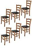 t m c s Tommychairs - Set 6 sedie Modello Venice per Cucina Bar e Sala da Pranzo, Robusta Struttura in Legno di faggio Color ciliegio e Seduta Rivestita in Pelle Artificiale Colore Nero
