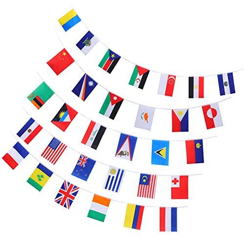 STOBOK 100 Países Cuerda Banderas Bandera Internacional Guirnalda Colgante para La Gran Apertura Fiesta Eventos Deportes Clubs Celebración del Festival