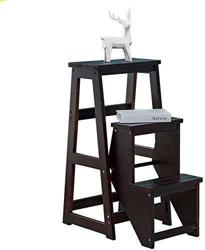 Taburete escalonero con escalera de madera de 3 pasos para el hogar, biblioteca, loft, escaleras, estantería ligera y plegable, capacidad de 150 kg (negro)