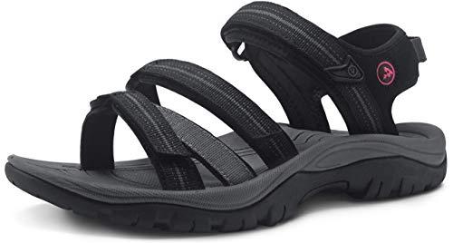 ATIKA Sandalias de senderismo para mujer con sistema de dedos cerrados, ligeras sandalias deportivas adecuadas para caminar, trailing, senderismo, zapatos de agua en verano, color Negro, talla 40 EU