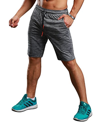 CLOUSPO Short de Course pour Hommes avec Poches Zippées Short Sport Léger Séchage Rapide pour Jogging Entraînement Gym Fitness Gris (L)