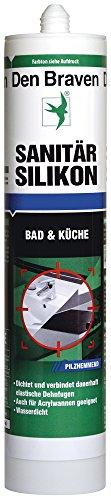 Den Braven Sanitär Silikon, 300 ml, pilzhemmend, wasserdicht, hohe Elastizität, Made in Germany, weiß, CSP33A100002