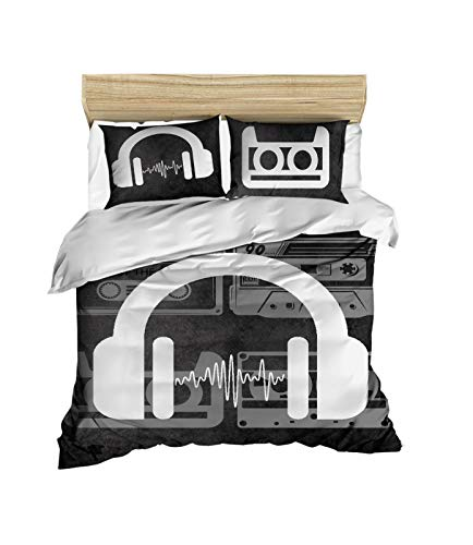 DecoMood 3D Printed 100% Cotton Music Bedding Set, Vintage Music Themed Bed Set, Full/Queen Size Quilt/Duvet Cover Set, Black White, Comforter Included (4 Pcs)