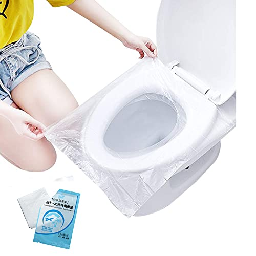 DINNIWIKL Disposable Toilet Seat Covers Plastic, Antibacterial Waterproof Portable Potty Seat Cover for Kids Pregnant Travel Hospital Public Toilet Hotel,...
