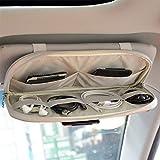 Kartisen Car Sun Visor Organizer, Auto Interior Accessories Pocket Organizer - Car Truck SUV Storage Pouch Holder, with Multi-Pocket Net Zipper (Gray)