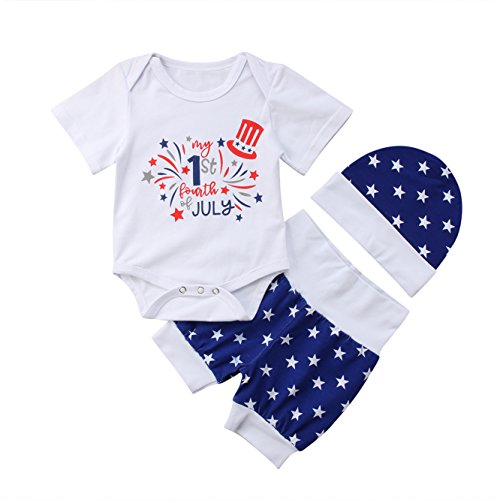 Newborn Baby My First 4th of July Stars Romper Bodysuit Shorts with Hat 3 Pcs Outfit Sets (0-6 Months, White)