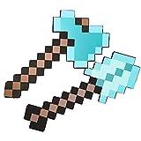 ZWWZ Spada Giocattolo in Schiuma per Bambini,Spada di Diamante,piccone,Ascia Pixel,Pala Pixel,Mitra,Pistola Pixel,Scudo Minecraft,Giocattolo per Bambini Finta di Giocare con la Spada(8 Combinazioni)