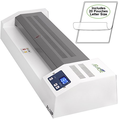 """Apache AL18P Professional Hot/Cold 18"""" (Actually 17.5"""" max Laminating Width) Thermal Laminator and 20 Laminator Pouches"""