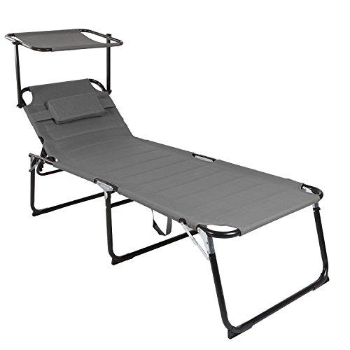 Mojawo XXL Gartenliege Sonnenliege Relaxliege Liege Aluminium mit Kissen gepolstert klappbar anthrazit L200xB70xH45/95cm Belastbar bis 150kg