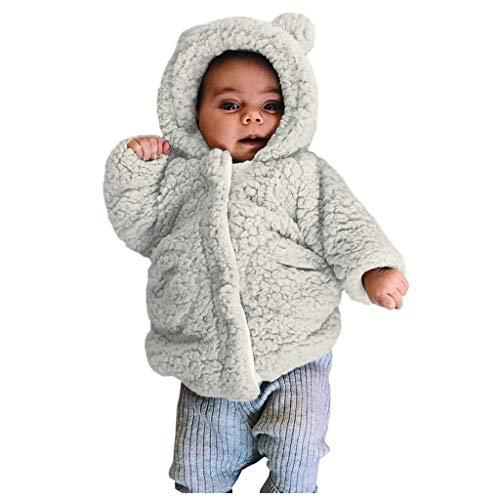 Longra Baby Winterjacke Fleecejacke Teddyjacke mit Kapuze einfarbig Reißverschluss Mäntel Unisex Baby Kapuzenjacke Fleece Baby-Jacke
