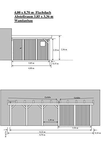 Carport-MV Carport 4,00 x 8,70 m Flachdach Fichte KVH mit Abstellraum Wandanbau
