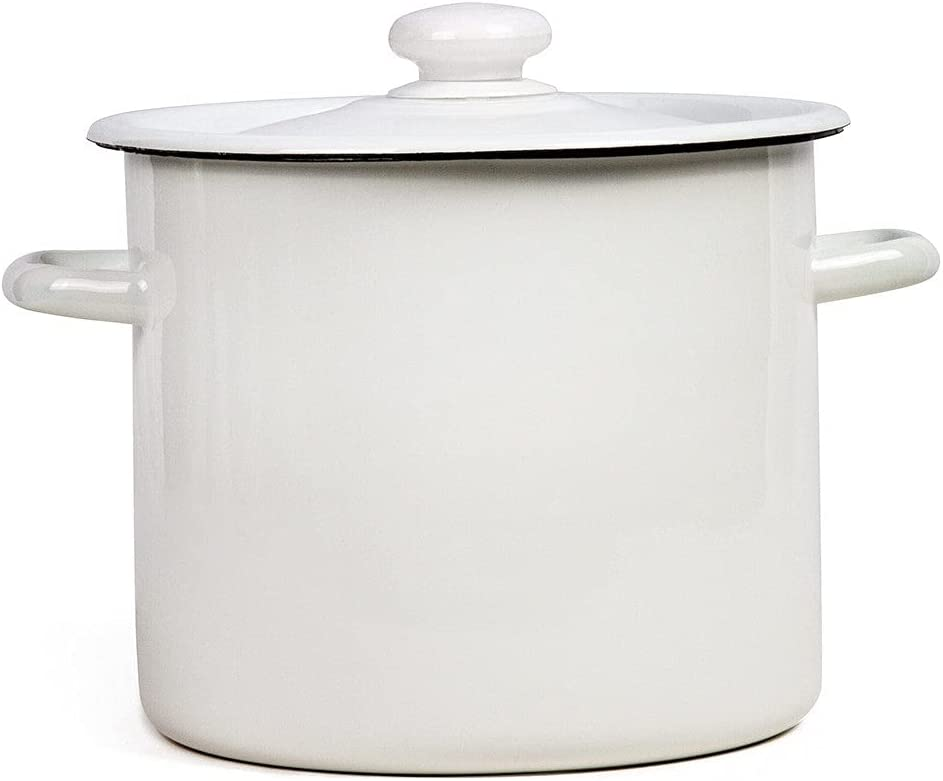 Unknown1 7.4 Qt Enamel On NEW before selling Steel Pot White Enameled Stock Large Max 60% OFF
