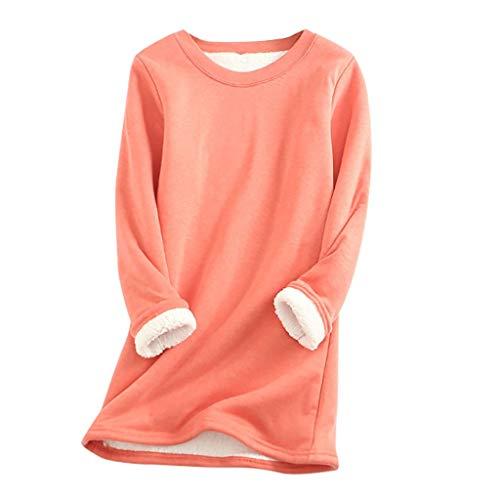 Meikosks Fleece Sweatshirt Womens Winter Velvet Warm O-Neck Underwear Plus Size Solid Color Pullover Pink