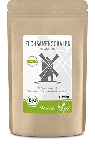 Flohsamenschalen gemahlen BIO 500g I 99% Reinheit I Flohsamenschalenmehl low carb - 100% Bio - indische Flohsamen Schalen - Rohkostqualität von bioKontor