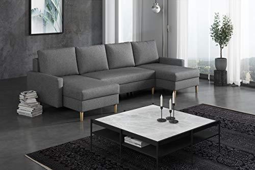 La Petite Maison – Sofá esquinero convertible – 290 x 72 x 140 cm – 2 cajas de almacenamiento – gris oscuro