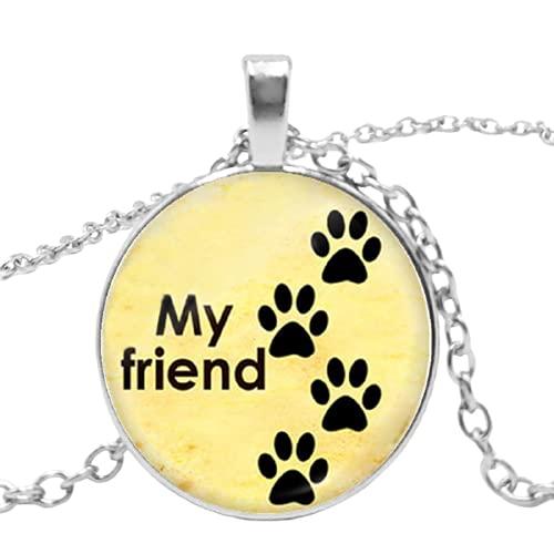 Collar de cristal con colgante de perro y huellas de perro de moda para mascotas