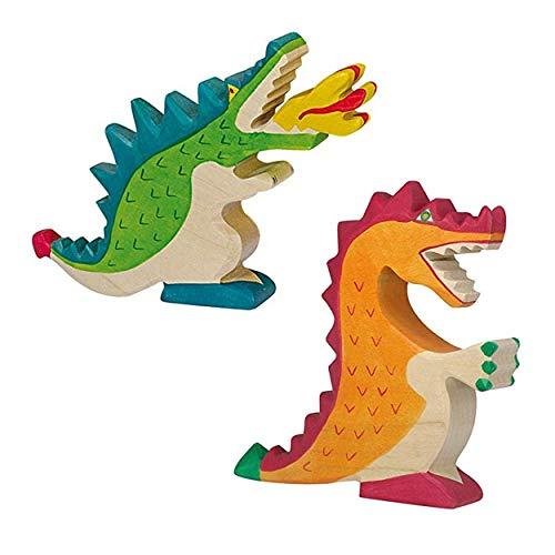 Holztiger Drachen Holzspielzeug im Set - Drache grün und Drache rot