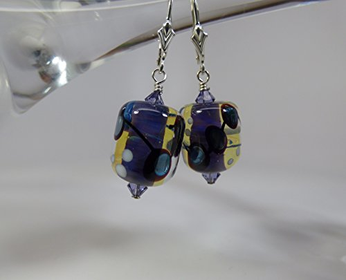 Artisan Purple Lampwork Bead Earrings with Swarovski Crystal Accents and Sterling Silver Findings and Leverback Ear Wires