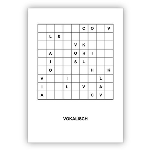 16 x Sudoku letters raadsel wenskaart om te knopen in chique design voor literatuur en boeken vrienden: vokalisch - ook mooi als kerstkaart • als liefdevolle kerstpost met envelop voor het wisselen van het jaar voor familie en bedrijf 4 Weihnachtskarten