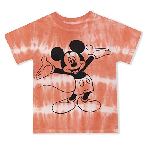 Disney Mickey Mouse Shirts for Toddler Boys, Tie Dye Kids Mickey Mouse Clothes Red