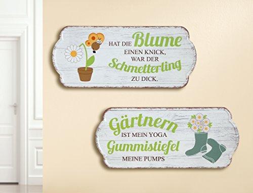 1 x Schild Weisheit Garten Breite 35 cm Spruch: Gärtnern ist Mein Yoga, Gummistiefel Meine Pumps