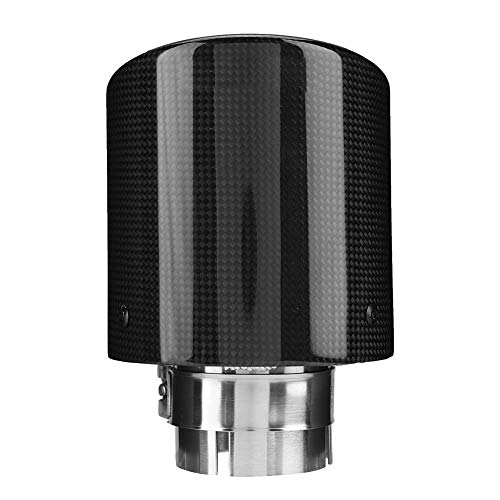 Duokon Diámetro de 60 mm Fibra de carbono Estilo Coche de acero inoxidable Modificado Salida única Tubo de escape Punta de silenciador Garganta de cola 63-114 mm para la mayoría de los autos